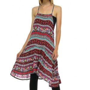 Dresses & Skirts - ❣Coral Geometric Halter Swing Dress❣